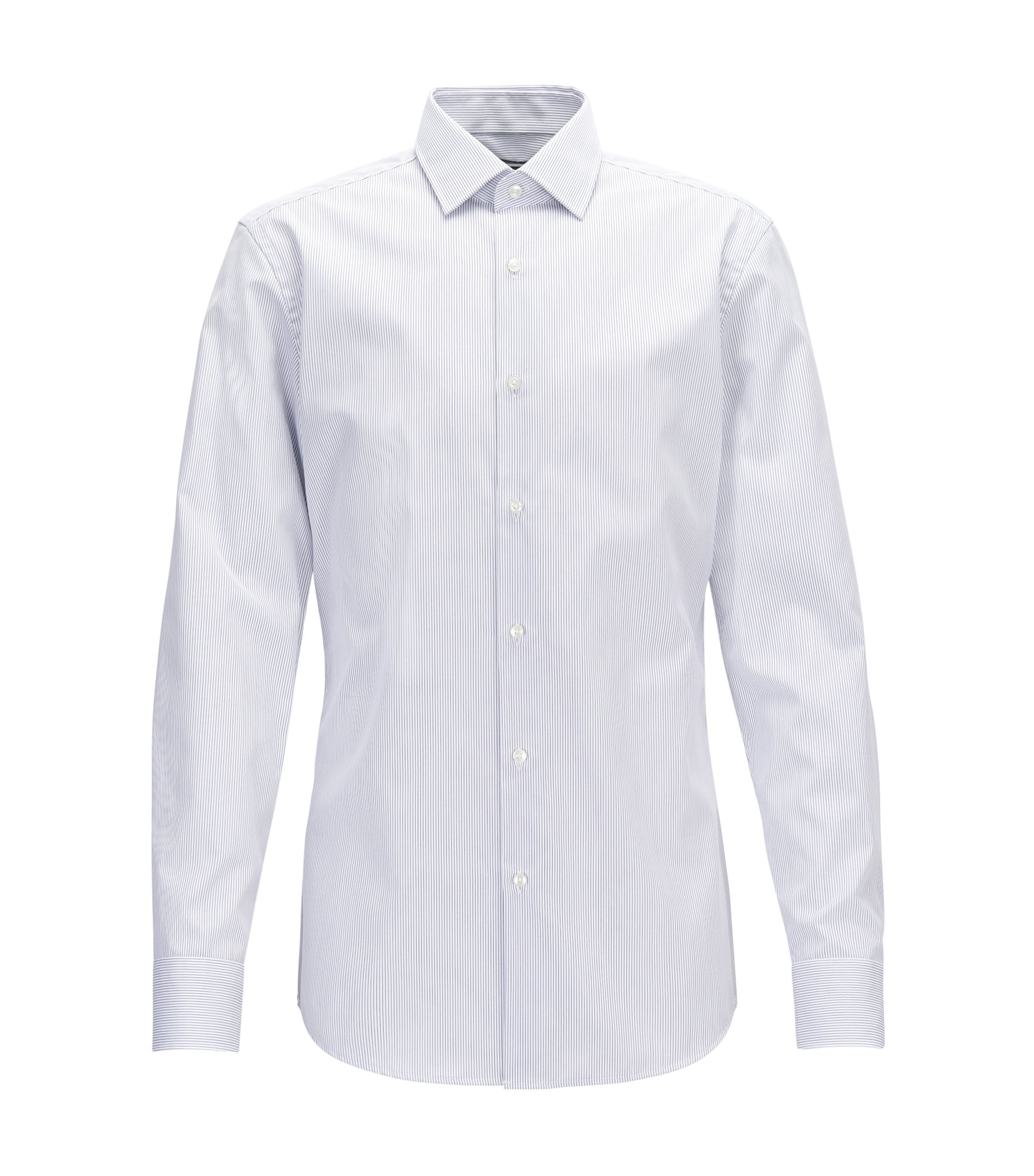 Camicia slim fit in cotone a righe, Blu scuro