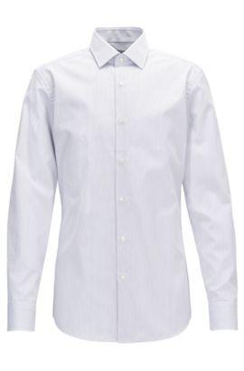 Slim-fit shirt in striped cotton, Dark Blue