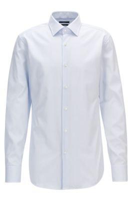 Camisa slim fit en algodón a rayas, Celeste