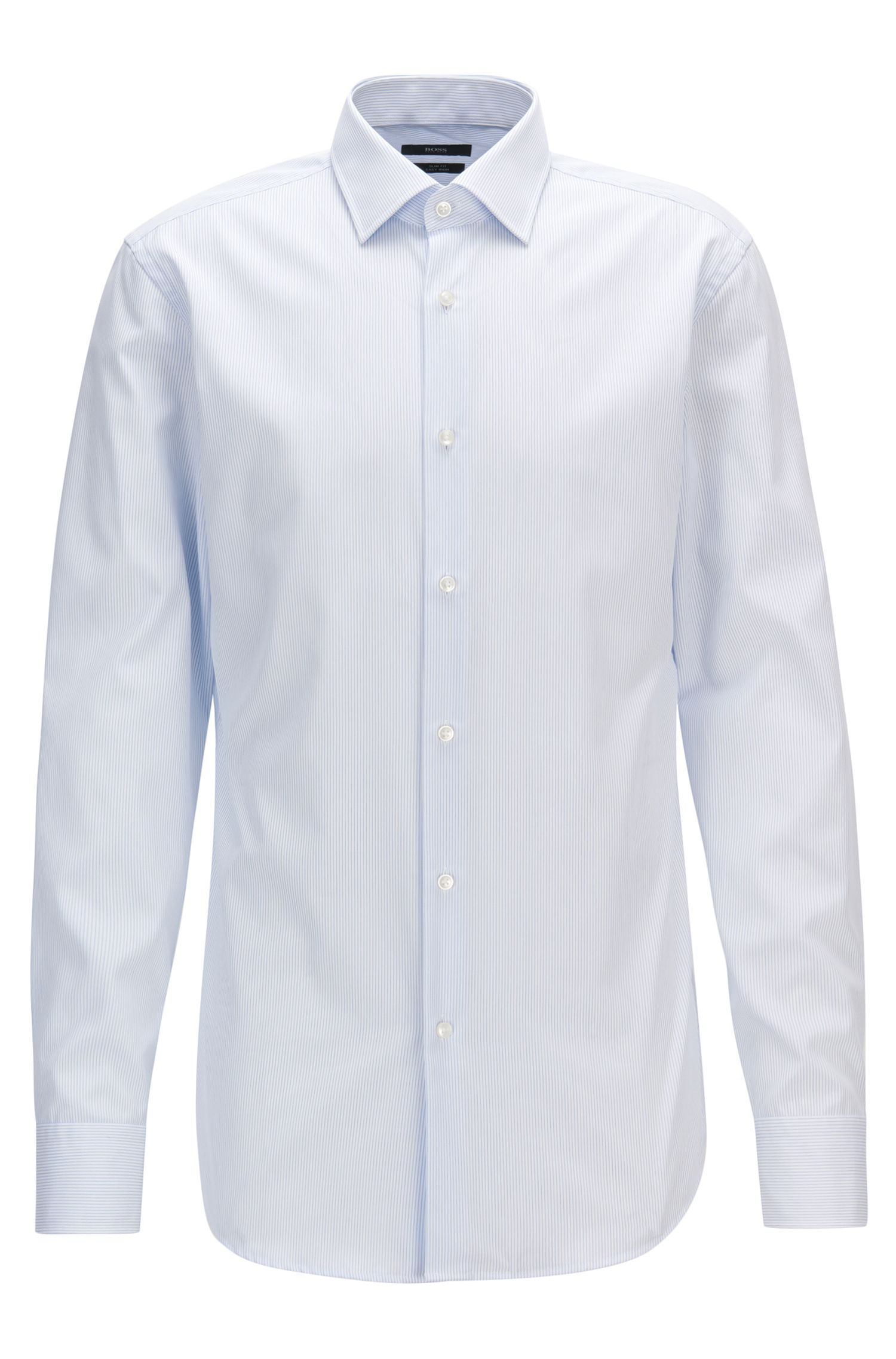 Camisa slim fit en algodón a rayas