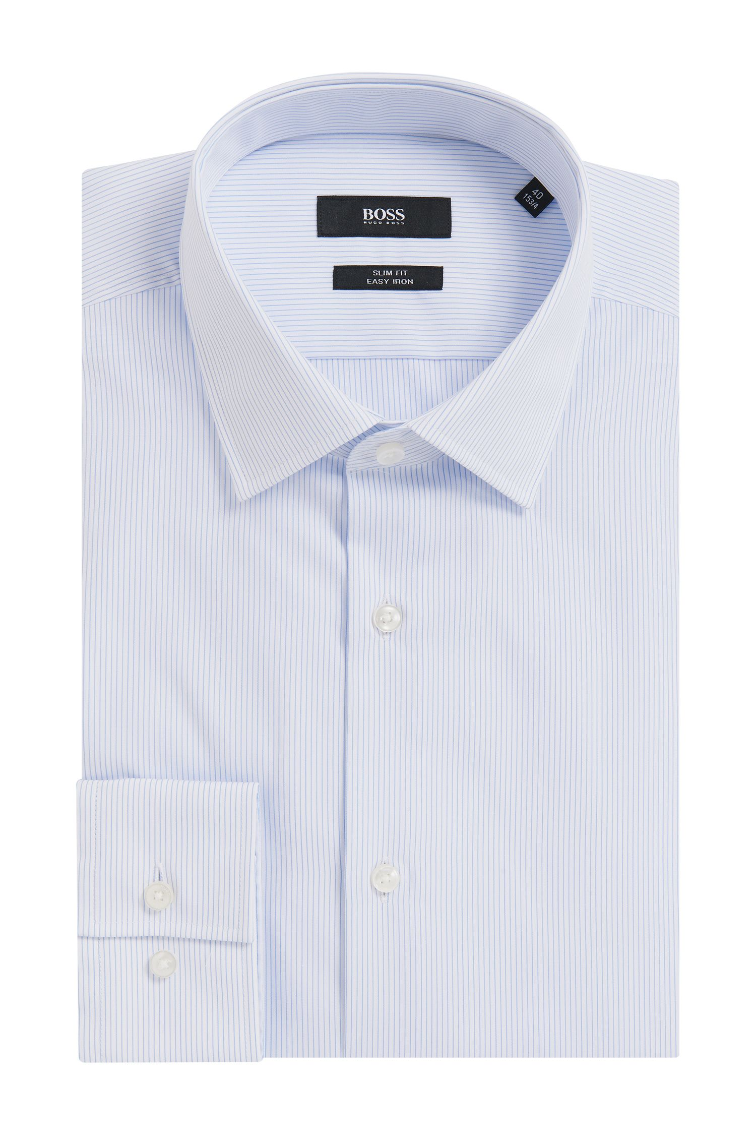 Slim-fit shirt in striped cotton