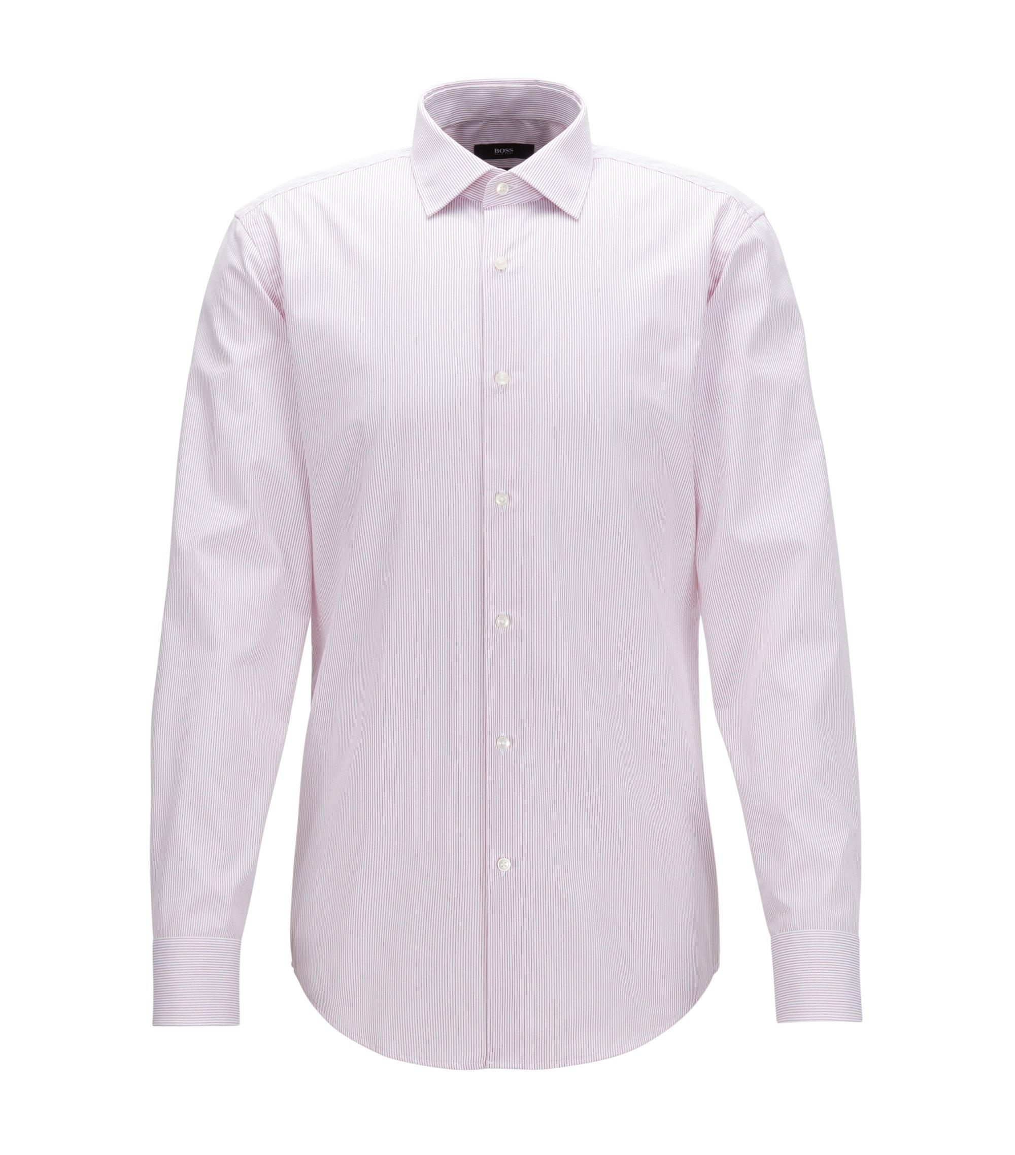 Slim-fit overhemd van gestreepte katoen, Donkerroze