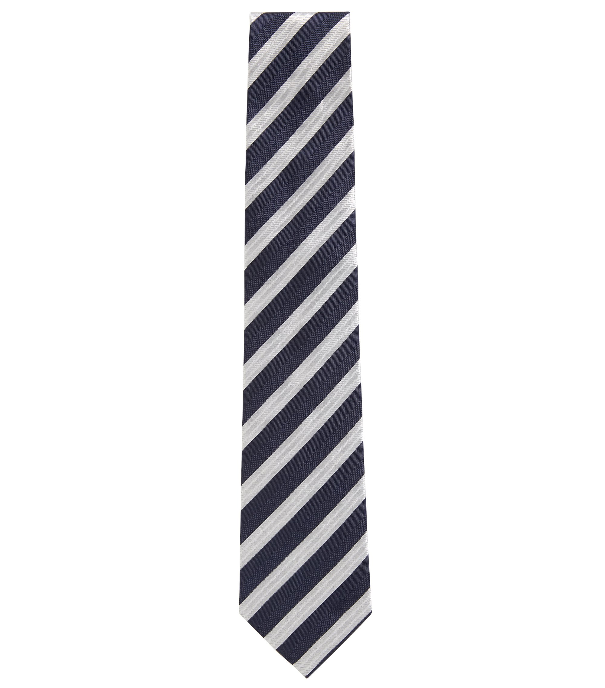 Diagonal striped tie in silk jacquard, Dark Blue