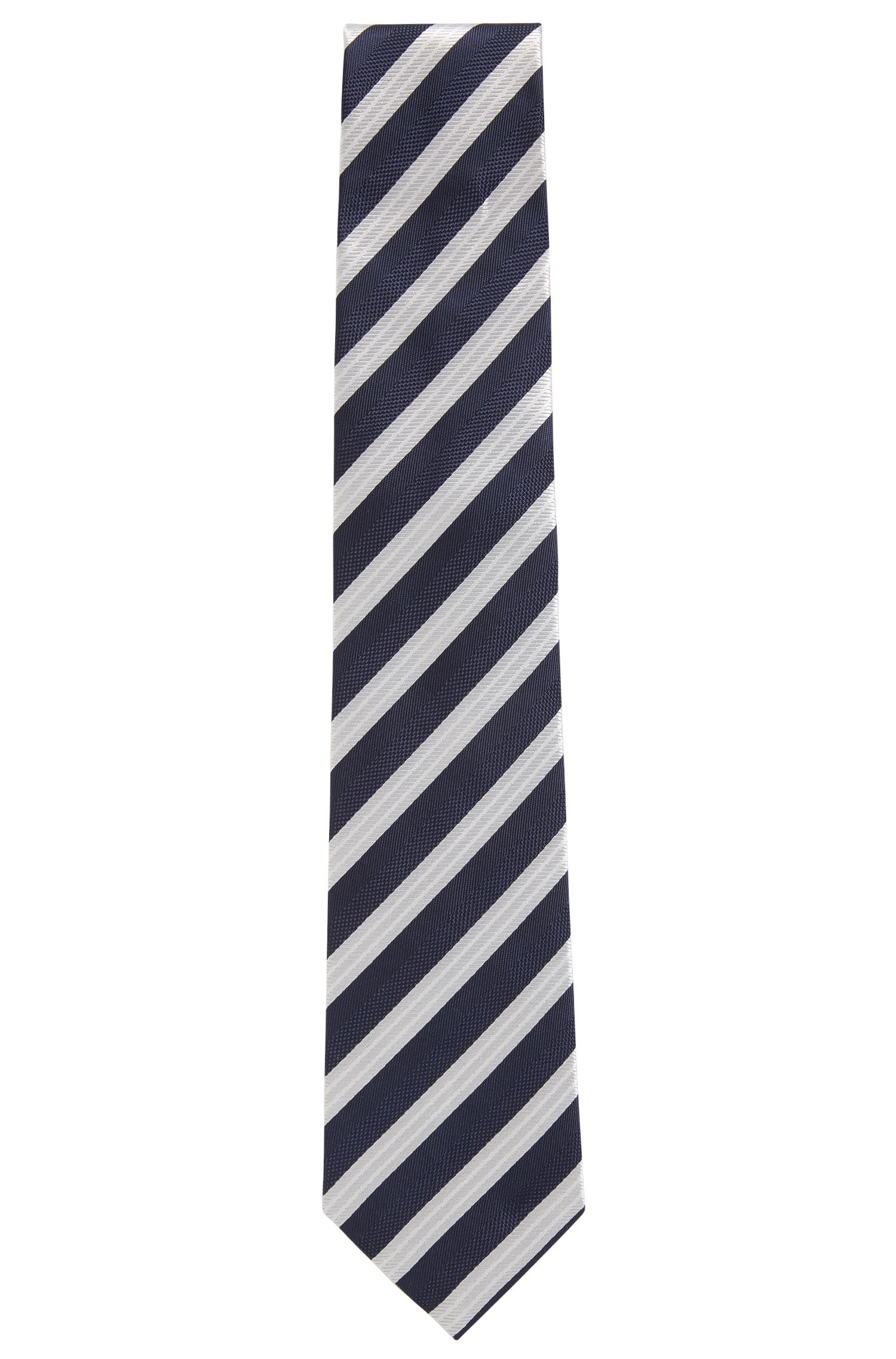 Diagonal striped tie in silk jacquard