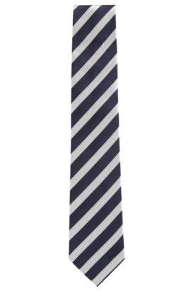 Cravatta in seta jacquard a righe diagonali, Blu scuro