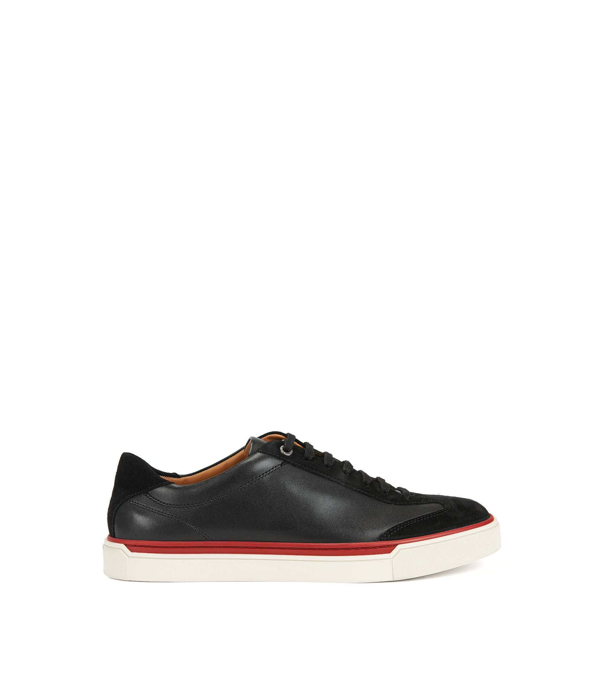 Low-top suede and nappa leather trainers with colour-contrast detail, Black