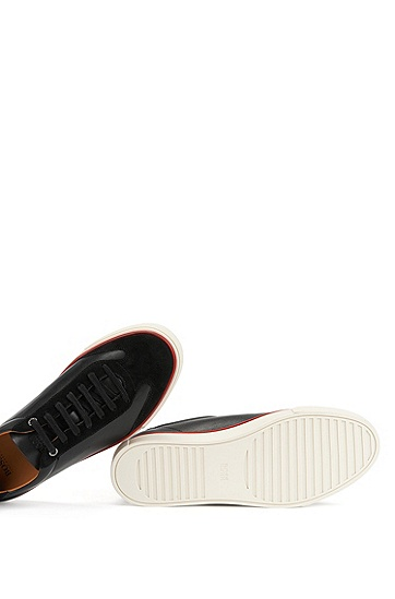饰有撞色细节的低帮翻绒皮和纳帕皮运动鞋,  001_黑色