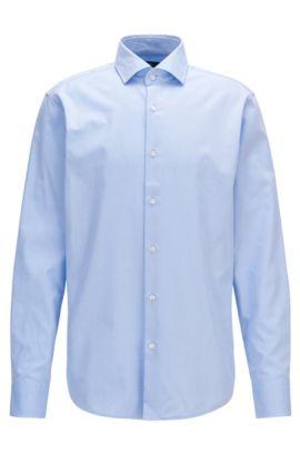 Gemustertes Regular-Fit Hemd aus Baumwolle, Hellblau