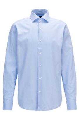Regular-fit shirt in patterned cotton, Light Blue
