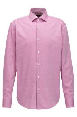 Camicia regular fit in cotone con particolare motivo, Rosa scuro