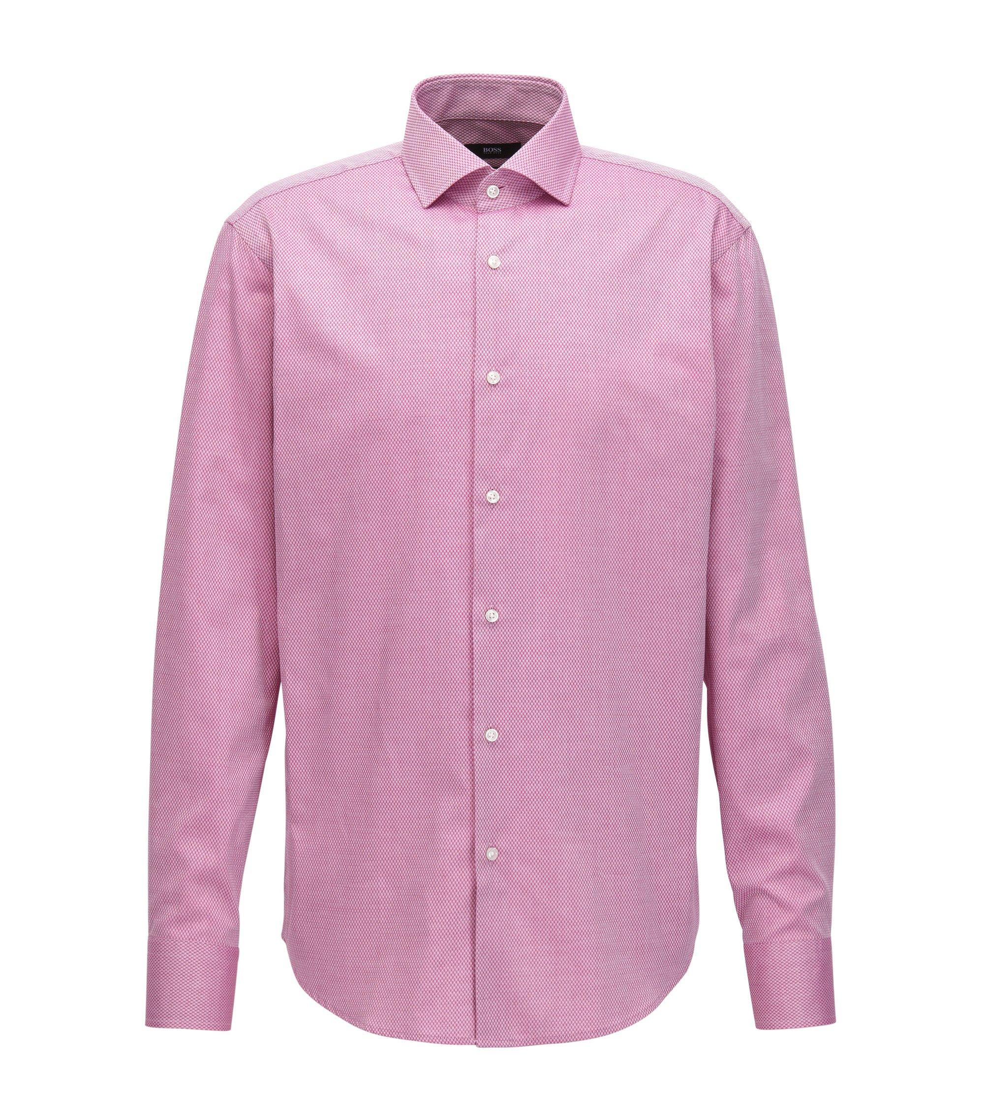 Regular-fit overhemd van katoen met dessin, Donkerroze
