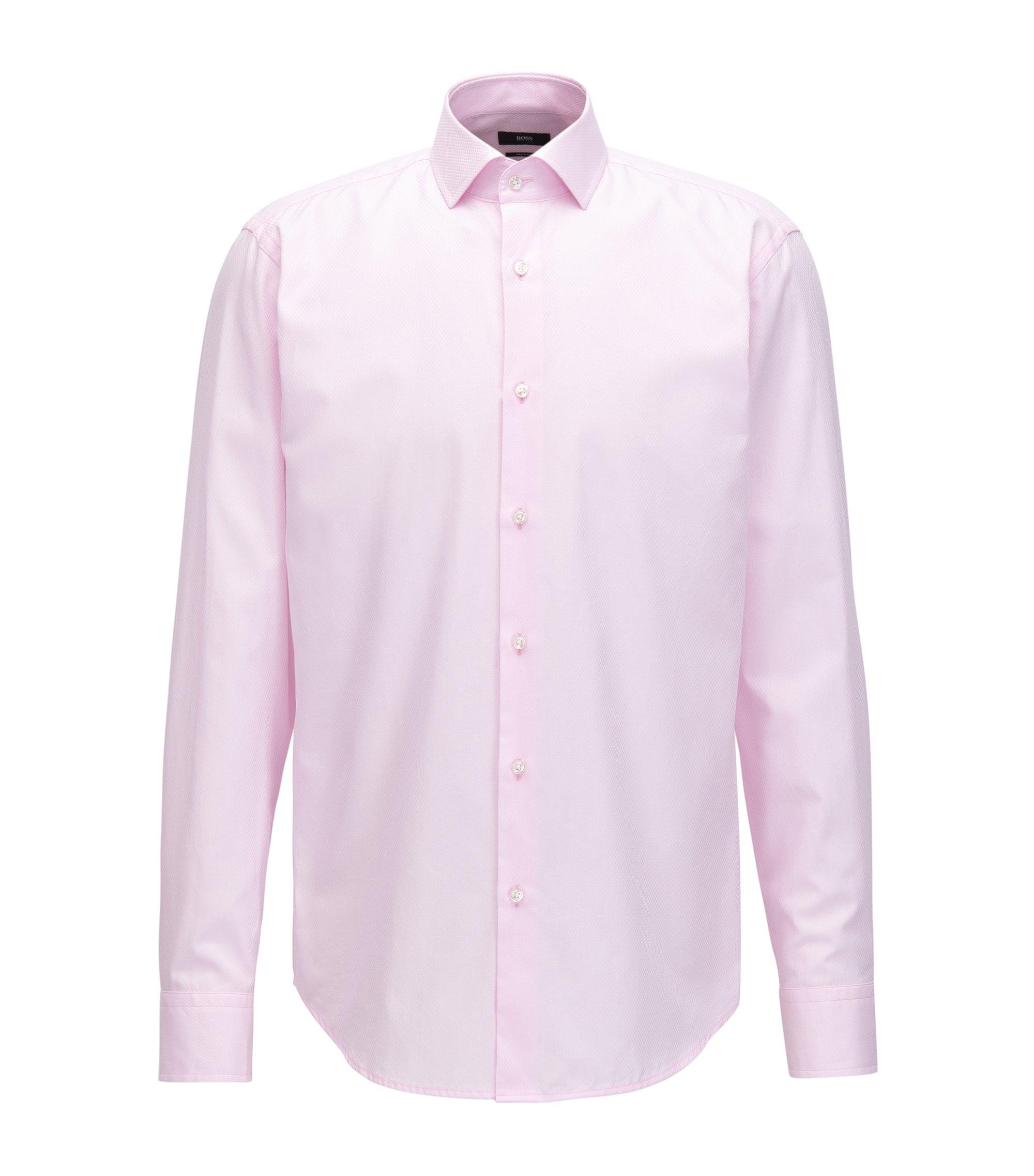 Regular-fit overhemd van katoen met dessin, Lichtroze