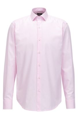 Camisa regular fit en algodón de fantasía, Rosa claro