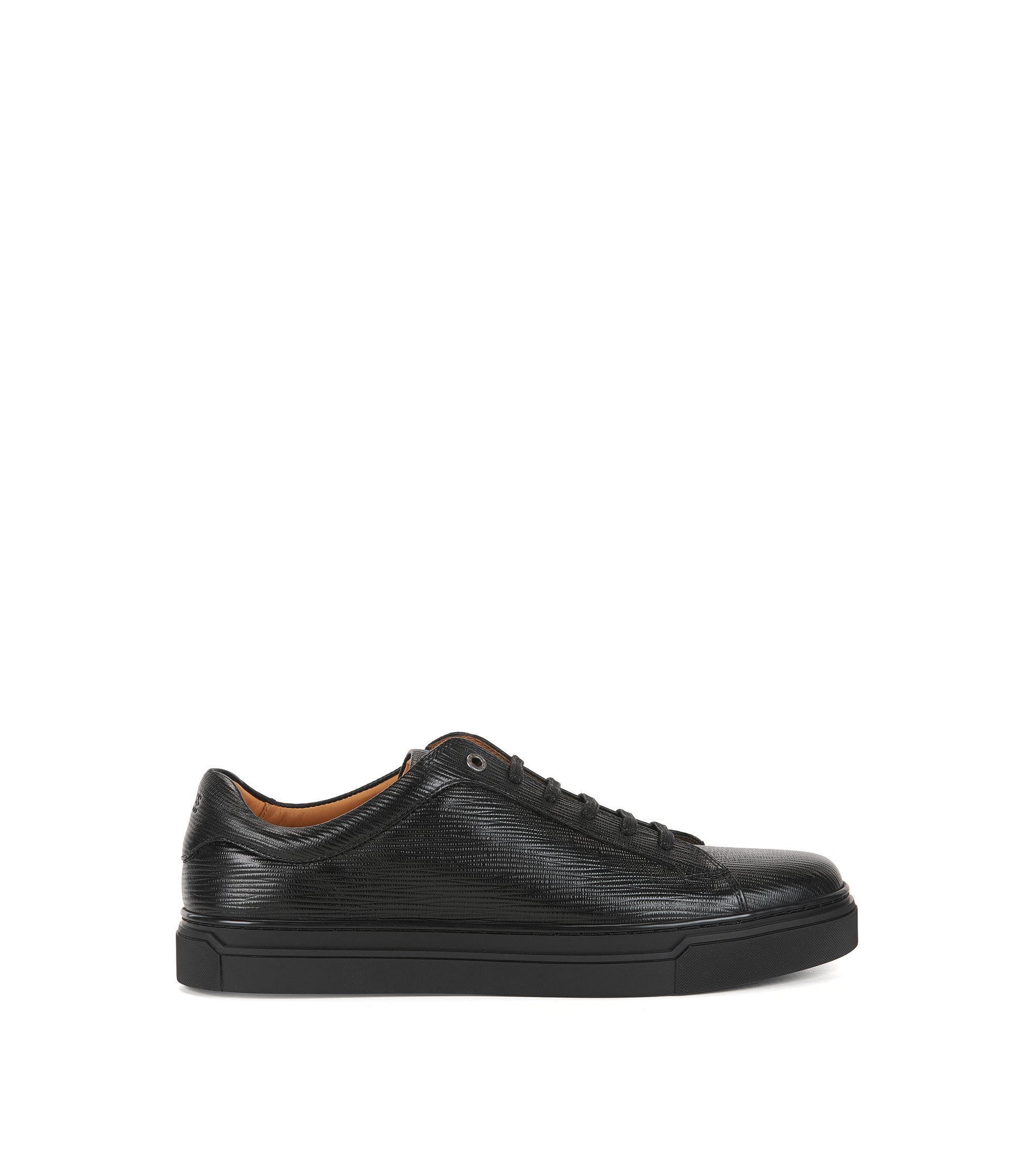 Sneakers in stile tennis in pelle stampata, Nero