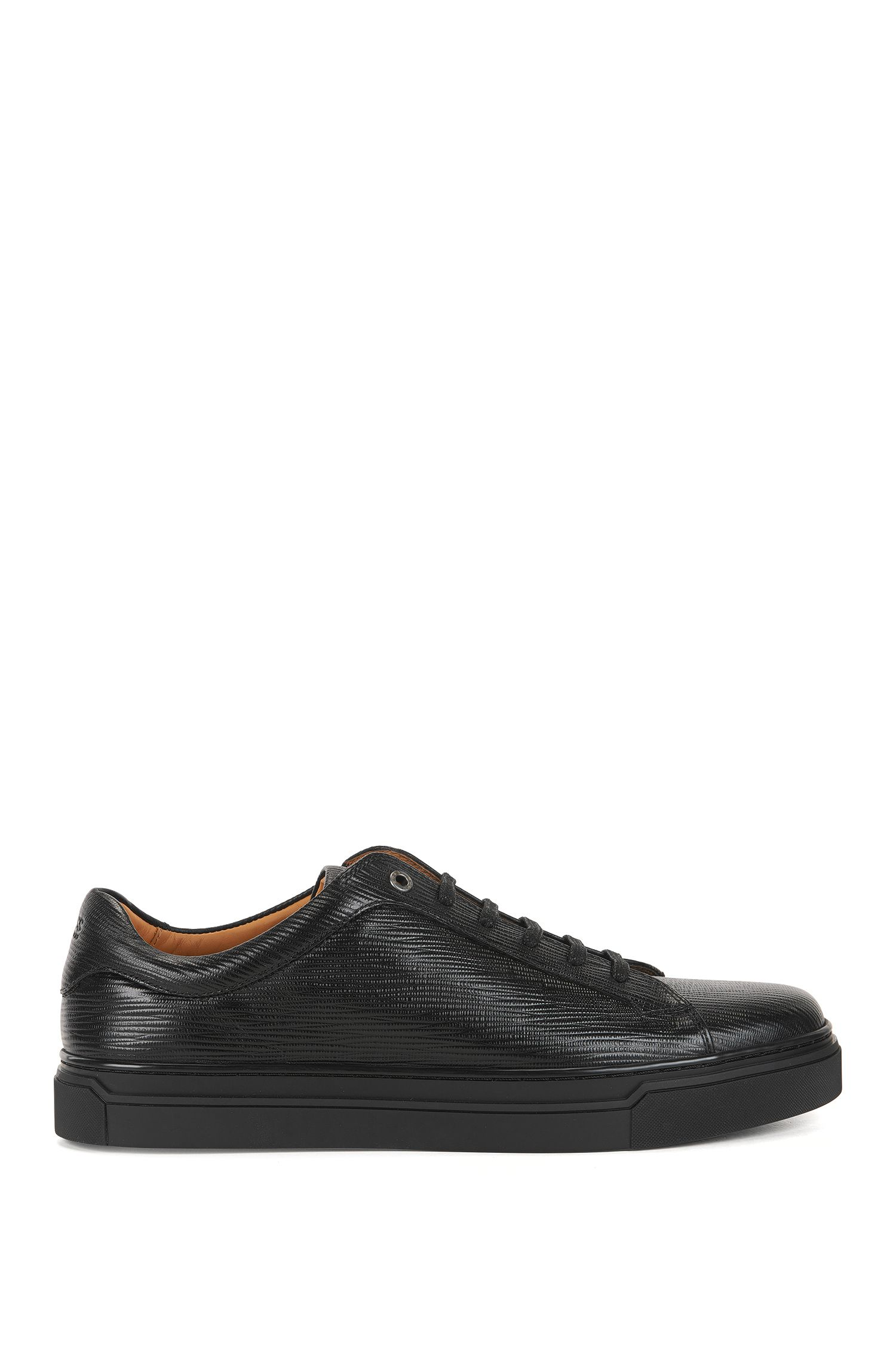 Tennis-style trainers in printed leather