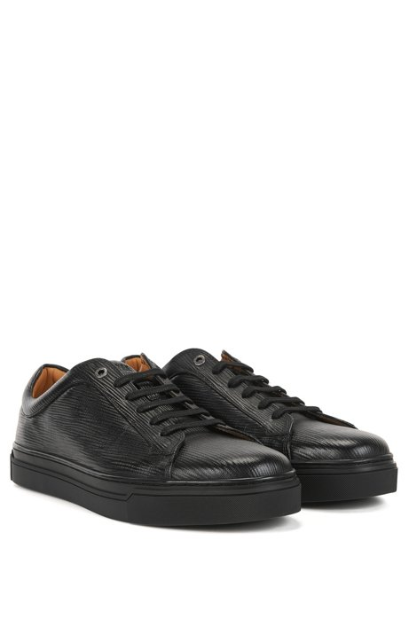 Tennis-style trainers in printed leather BOSS EJlDPJ8IWA