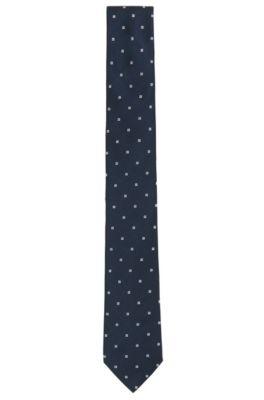 Stropdas met dessin in een jacquard van garengeverfde zijde, Donkerblauw