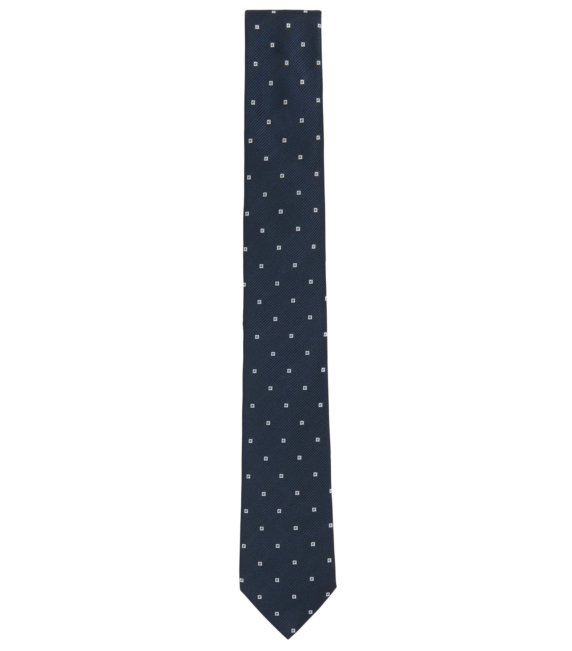 Patterned tie in yarn-dyed silk jacquard, Dark Blue