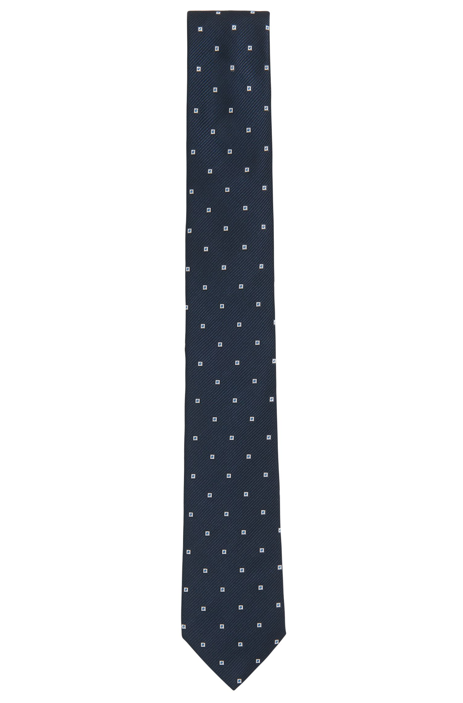 Patterned tie in yarn-dyed silk jacquard