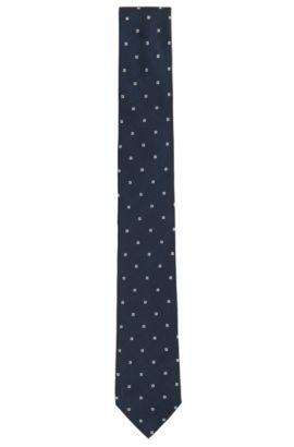 Cravate à motif tissée teinte, en jacquard de soie, Bleu foncé
