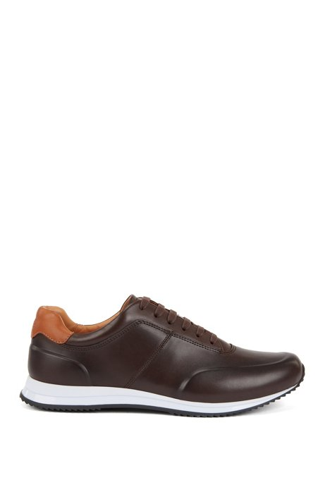 Lace-up trainers in polished leather, Dark Brown