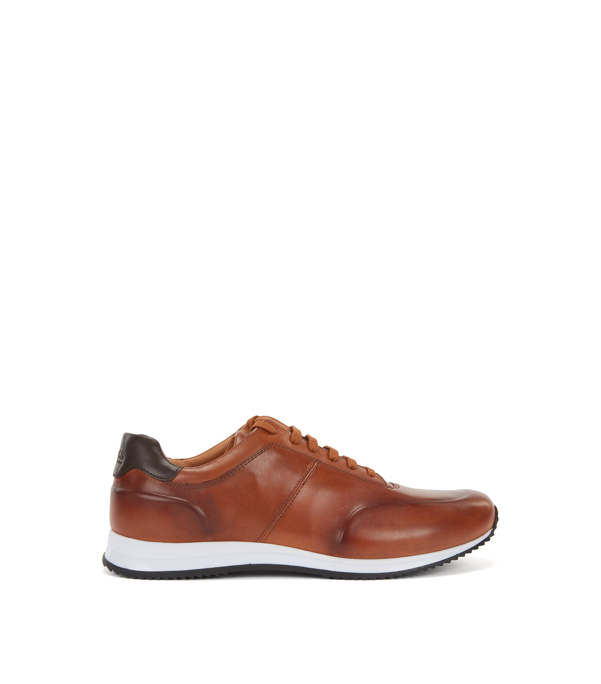 Lace-up trainers in polished leather, Brown