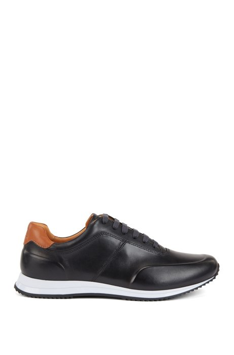 Lace-up trainers in polished leather, Dark Blue