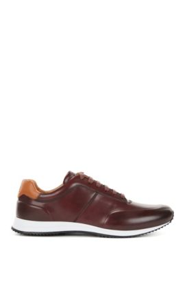Lace-up trainers in polished leather, Dark Red