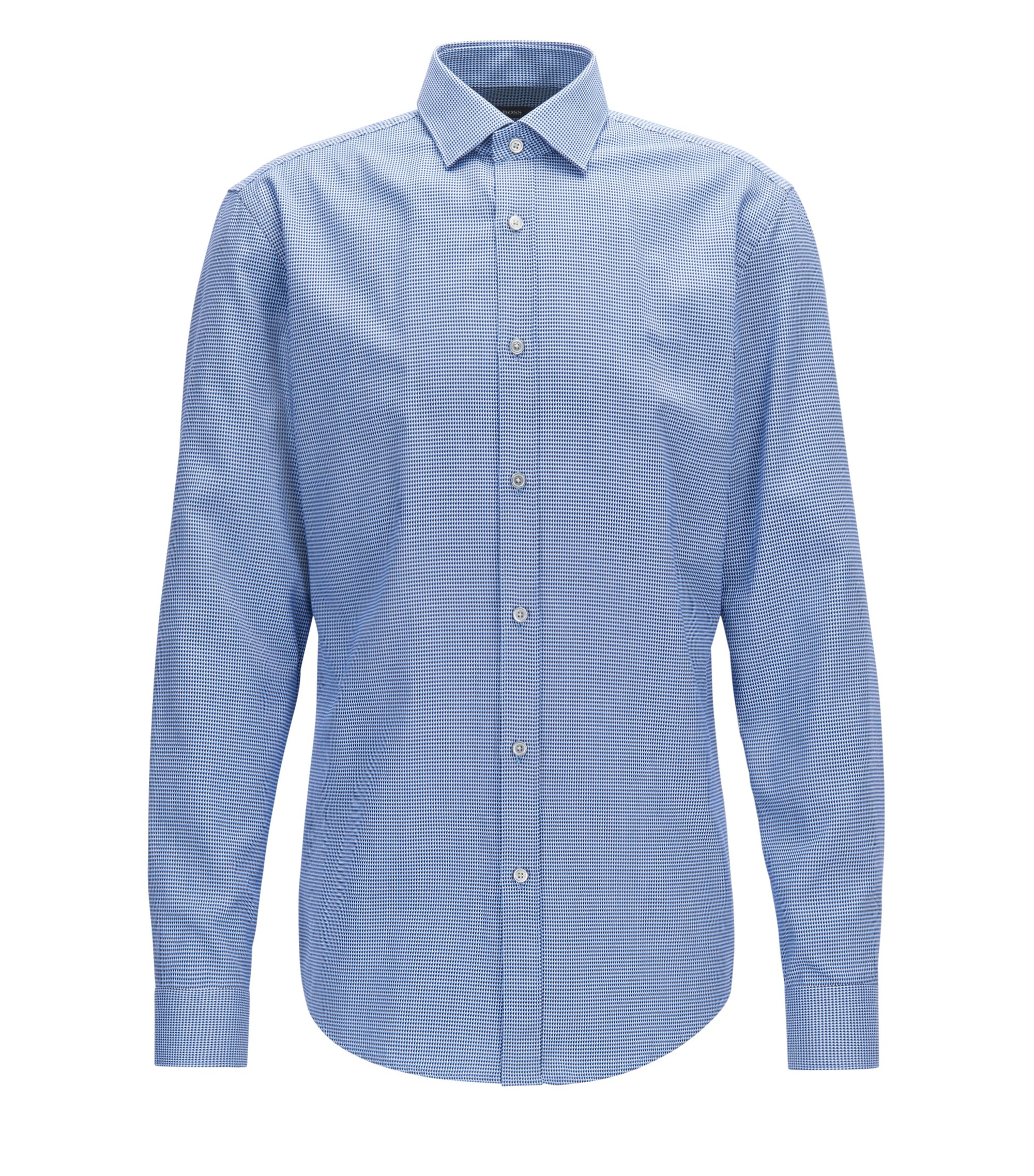 Slim-fit shirt in two-tone structured cotton, Light Blue
