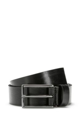 Leather belt with reverse logo embossing, Black