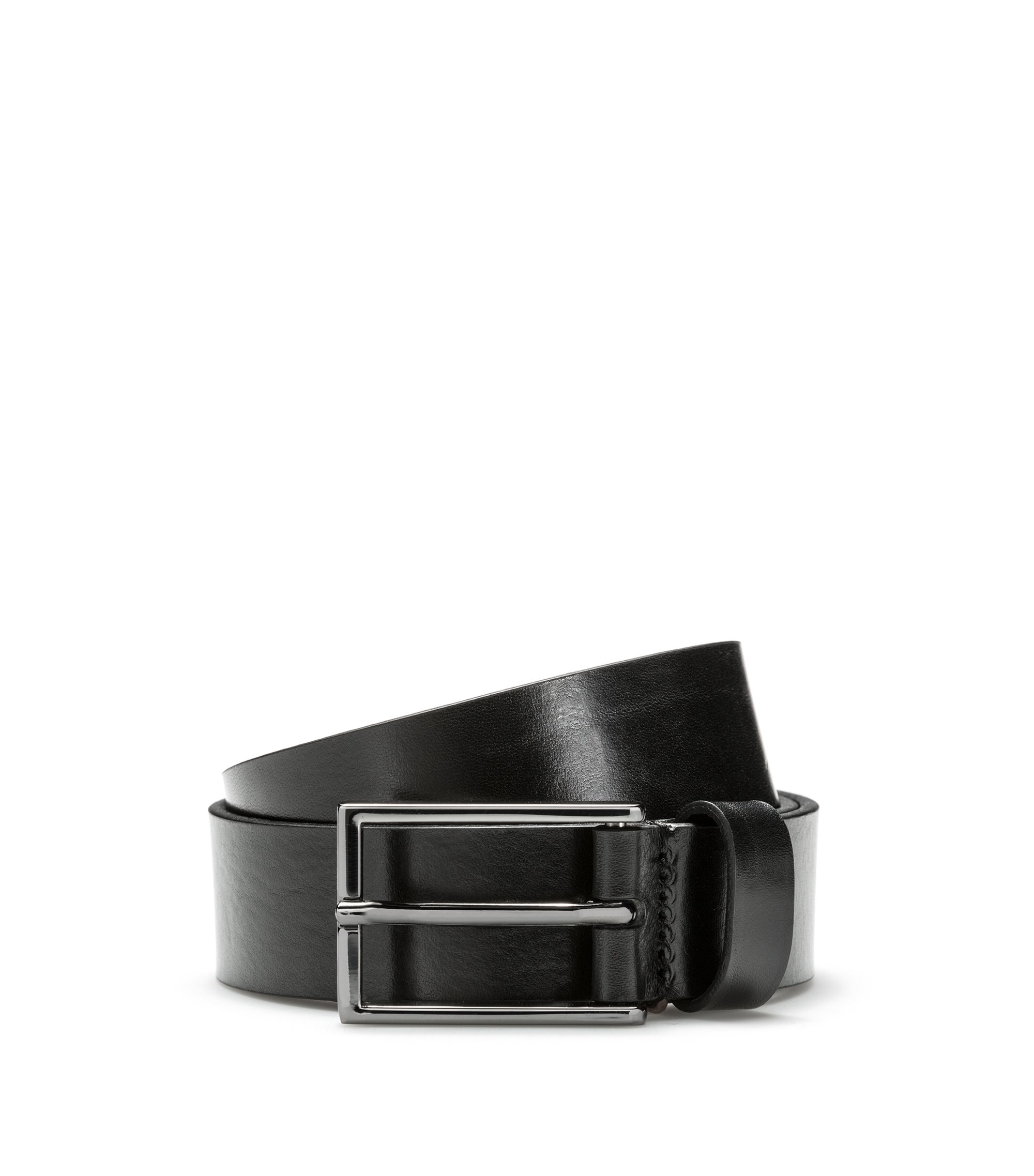 Cinturón de piel con un logo grabado invertido, Negro
