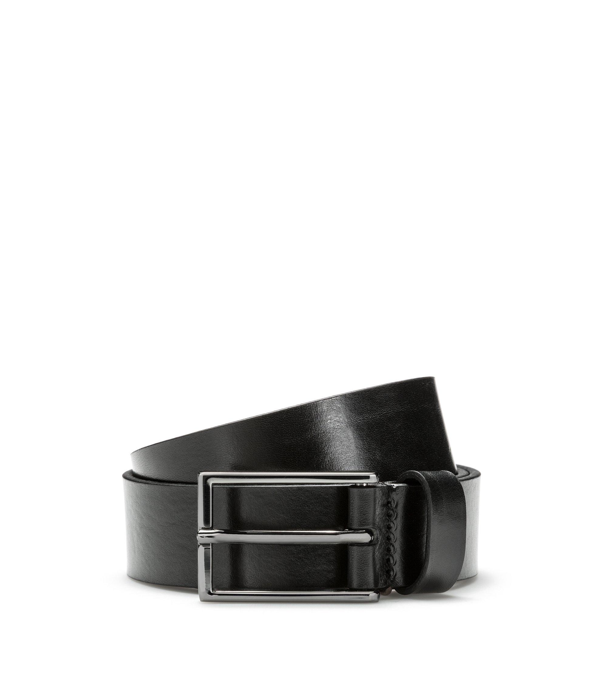 Cintura in pelle con logo a rovescio goffrato, Nero