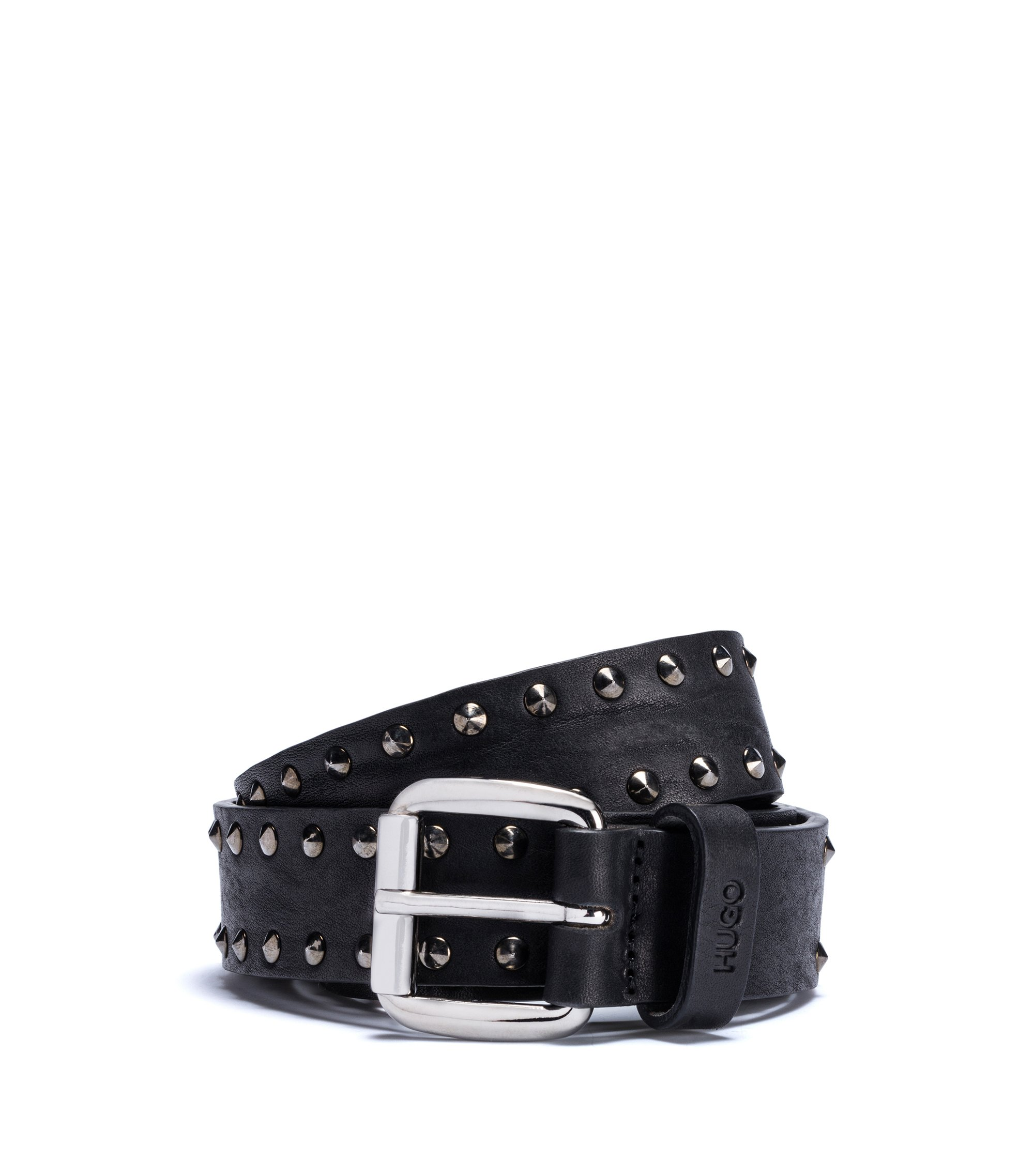 Tumbled-leather belt with stud detailing, Black