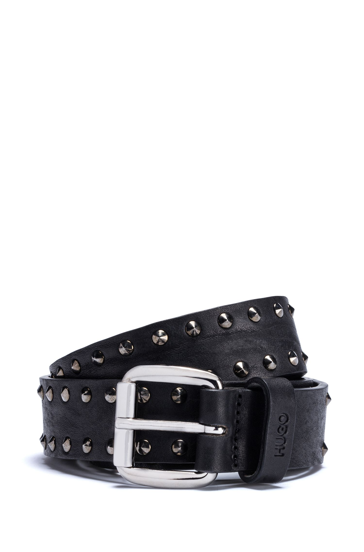 Tumbled-leather belt with stud detailing