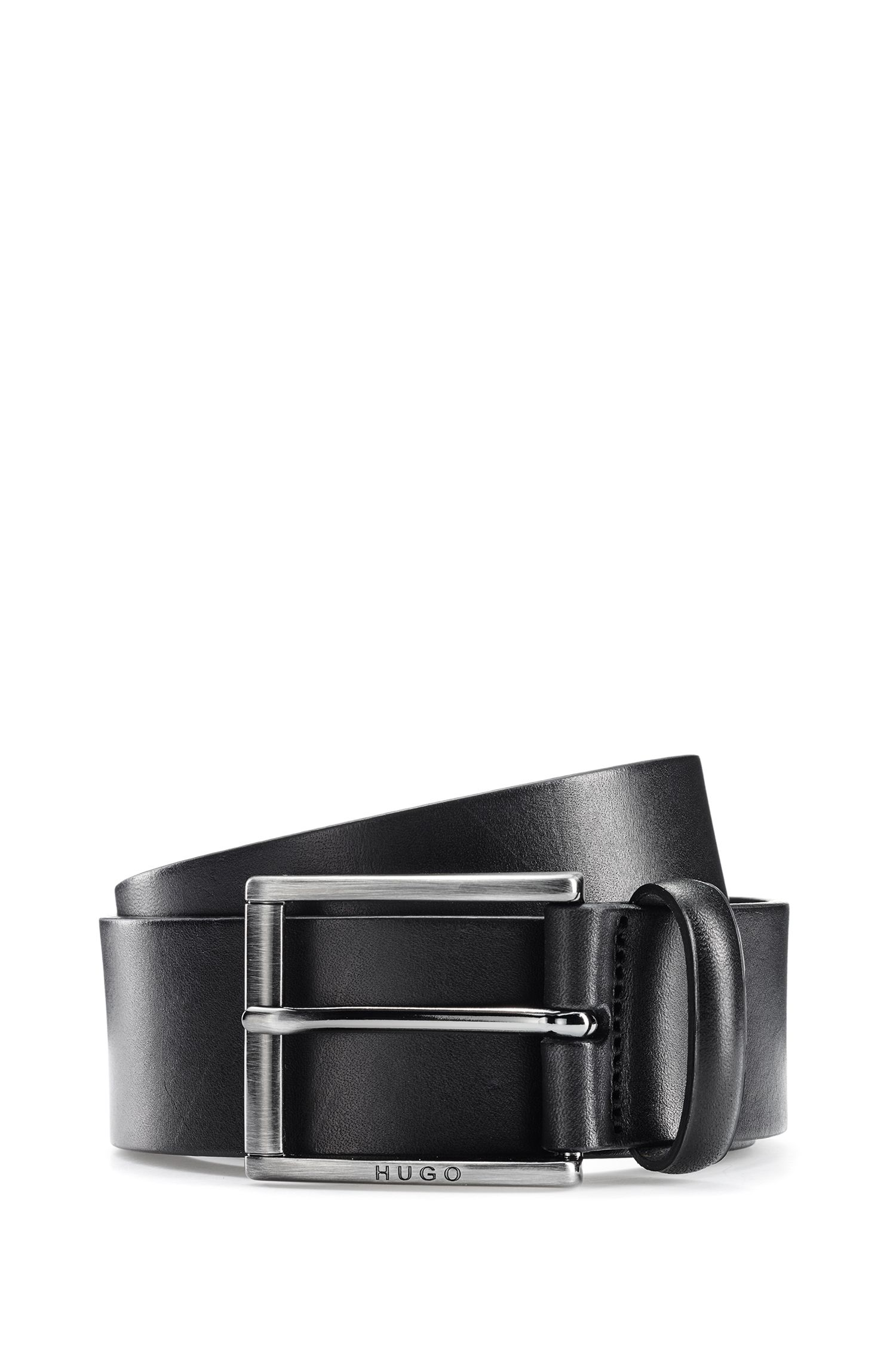 Leather belt with square brushed-metal pin buckle, Black