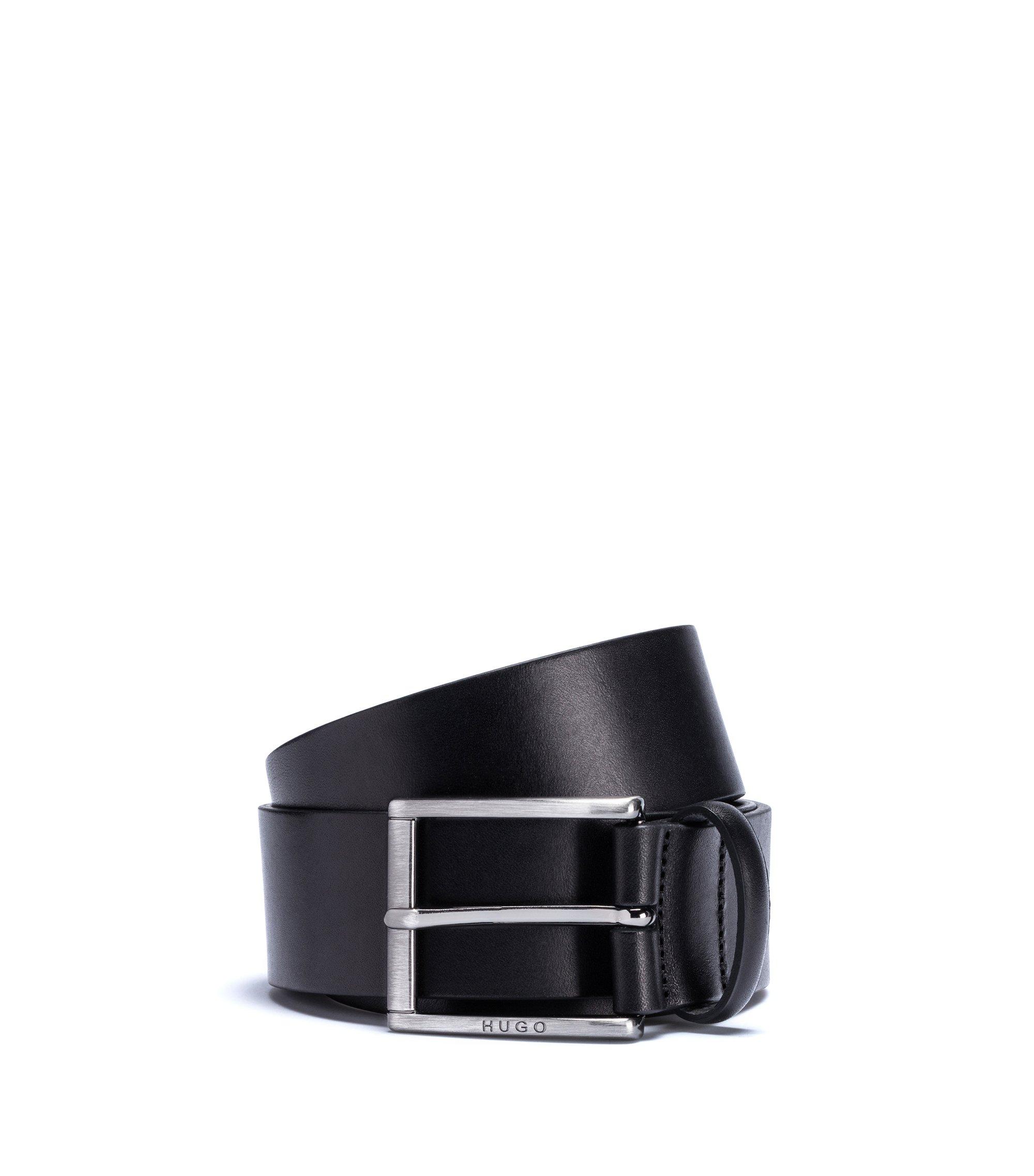 Ledergürtel mit eckiger Dornschließe aus gebürstetem Metall, Schwarz