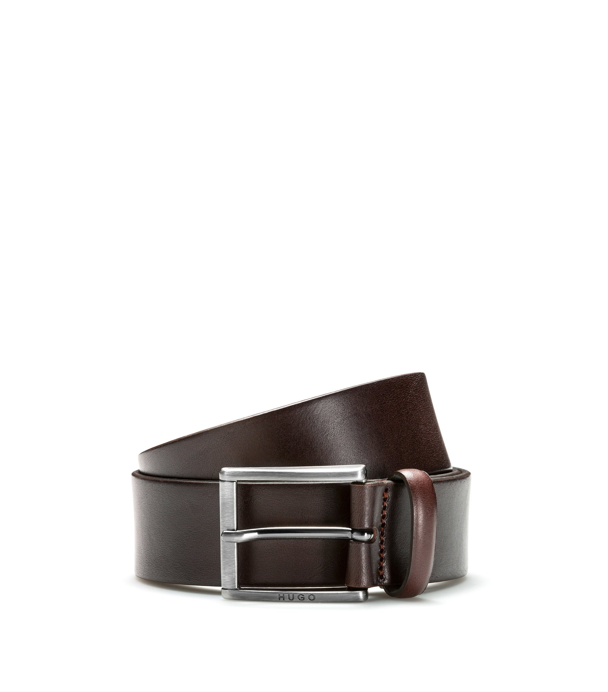 Leather belt with square brushed-metal pin buckle, Dark Brown