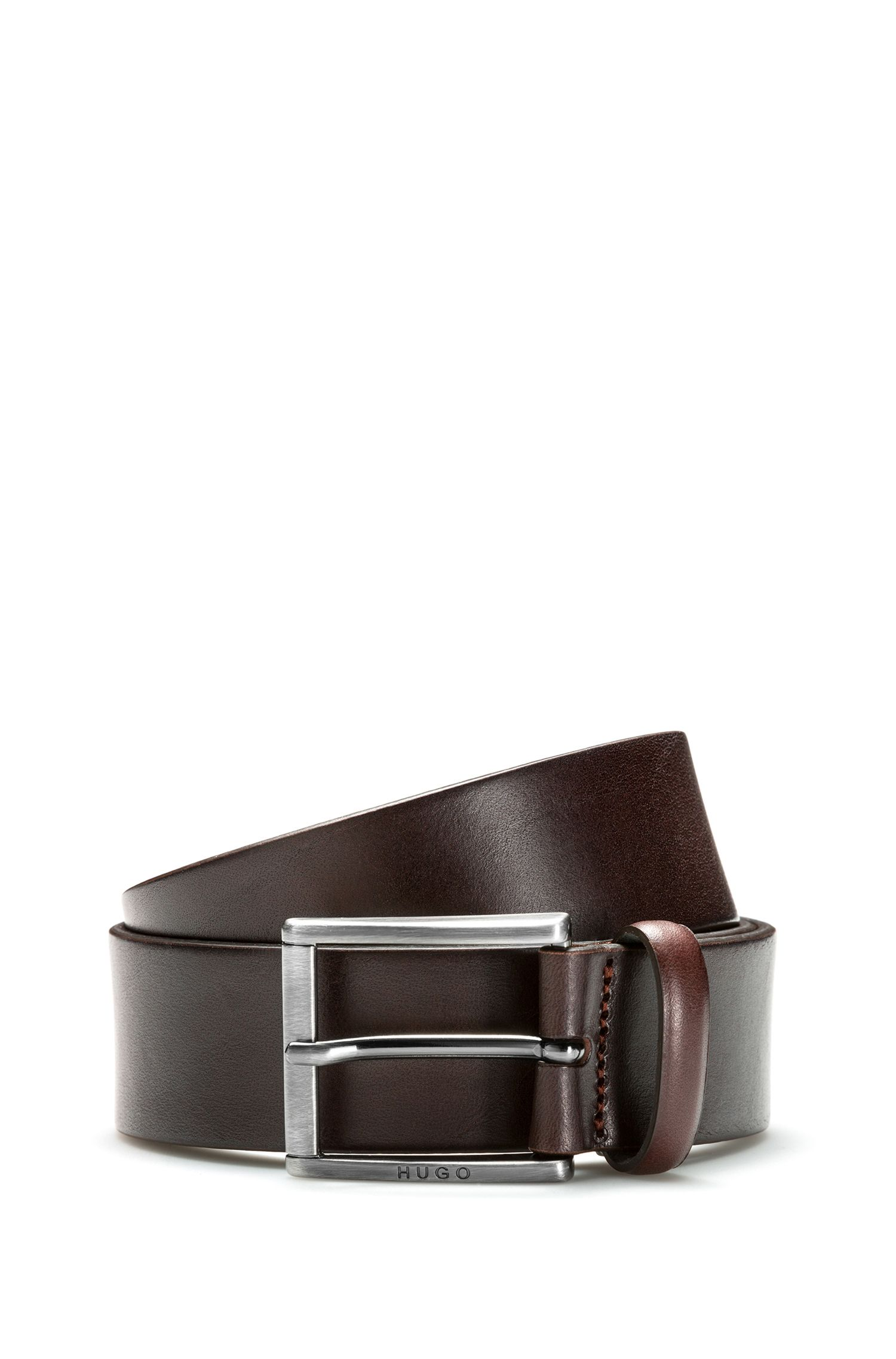 Leather belt with square brushed-metal pin buckle