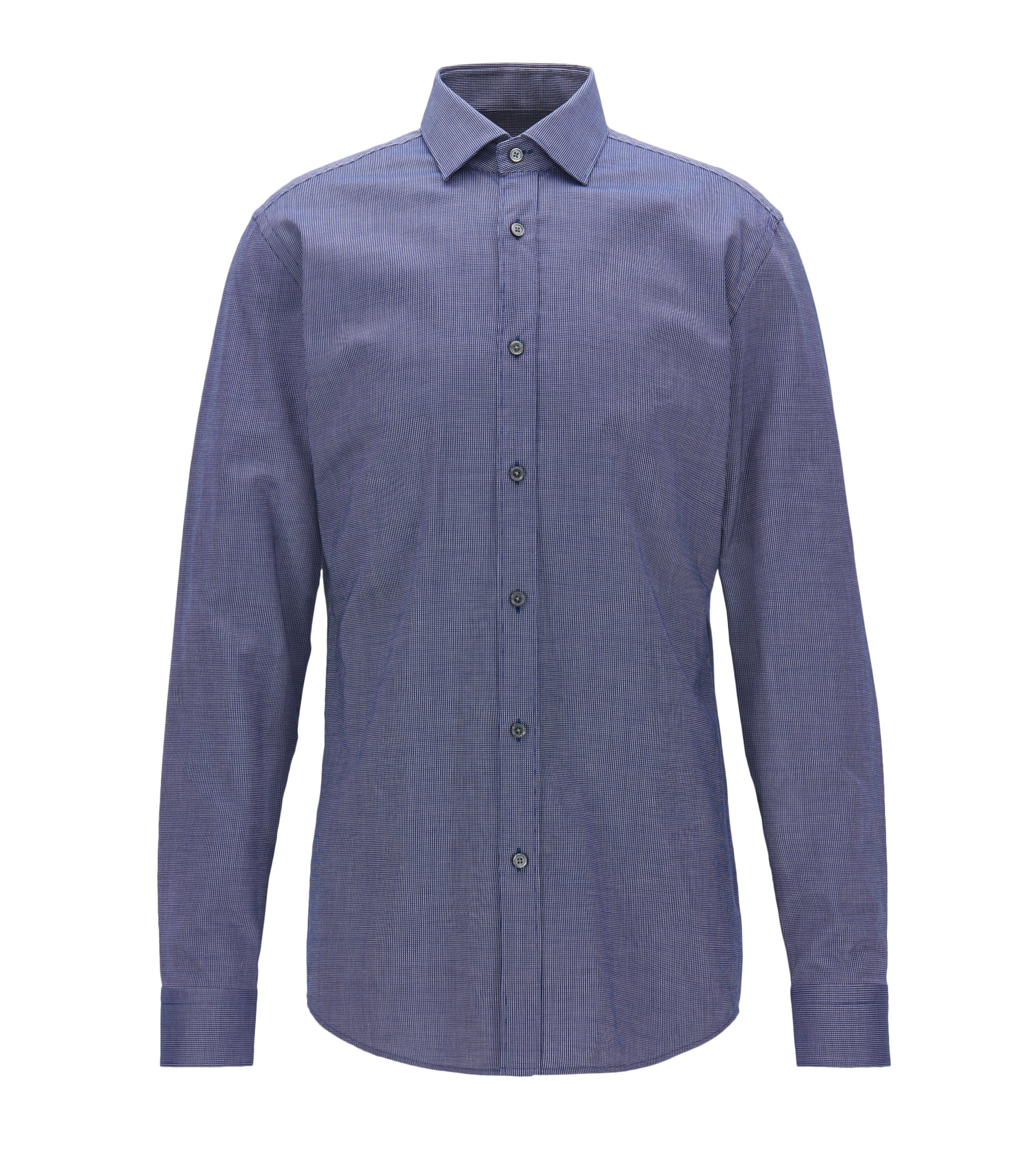 Slim-fit shirt in micro-dot Oxford cotton, Dark Blue