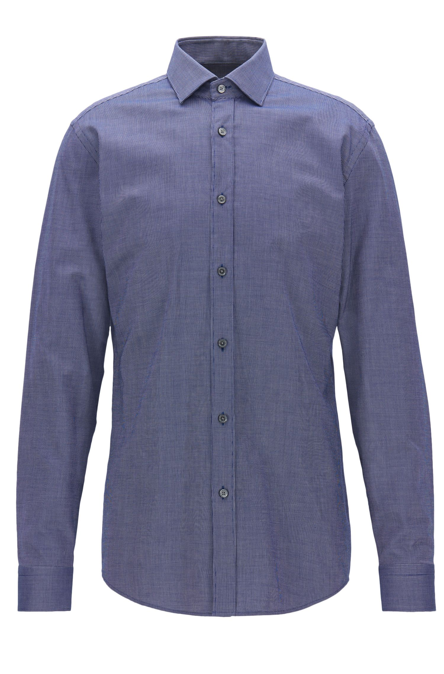 Camicia slim fit in cotone Oxford con micropois