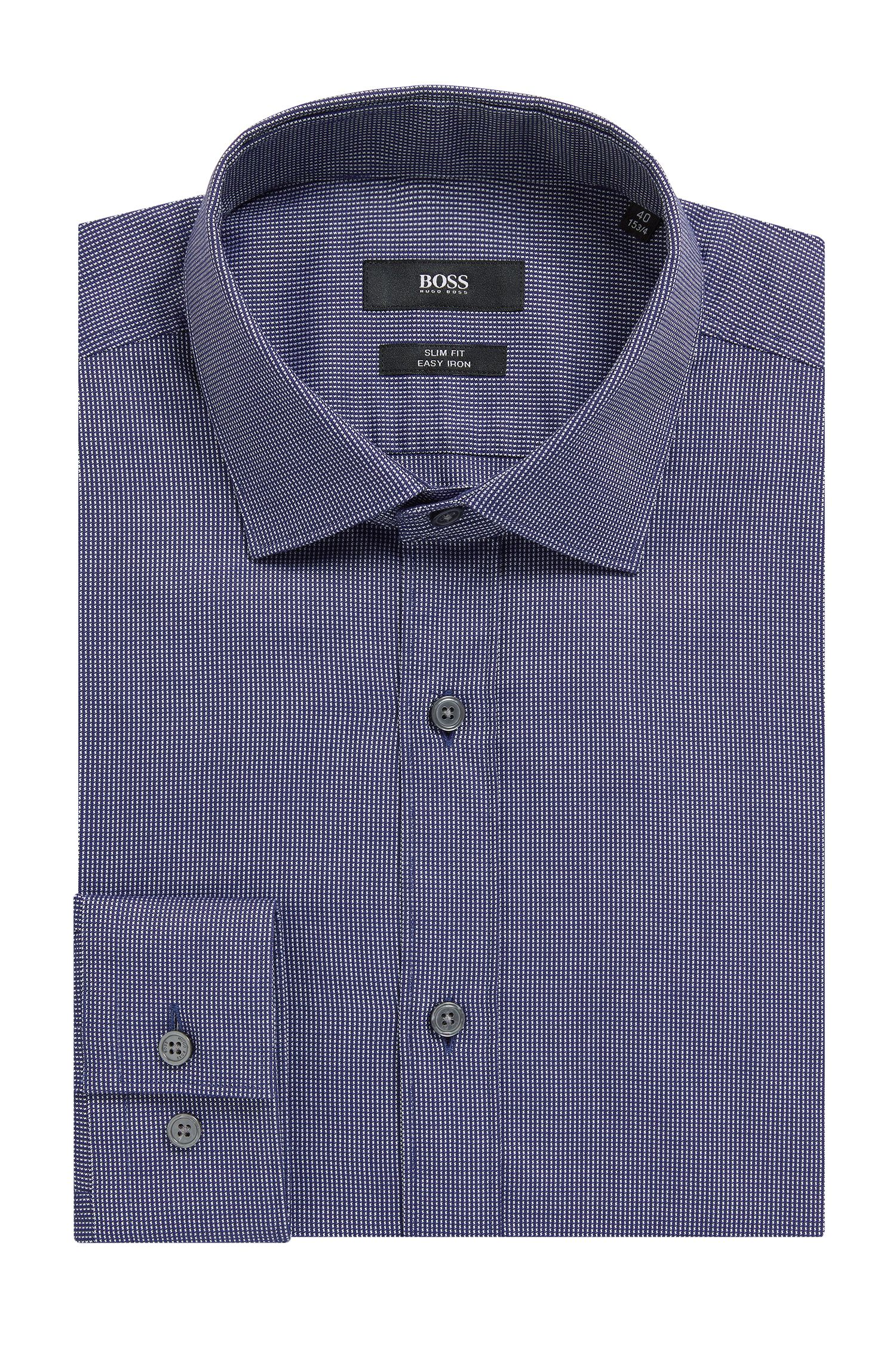 Slim-fit shirt in micro-dot Oxford cotton