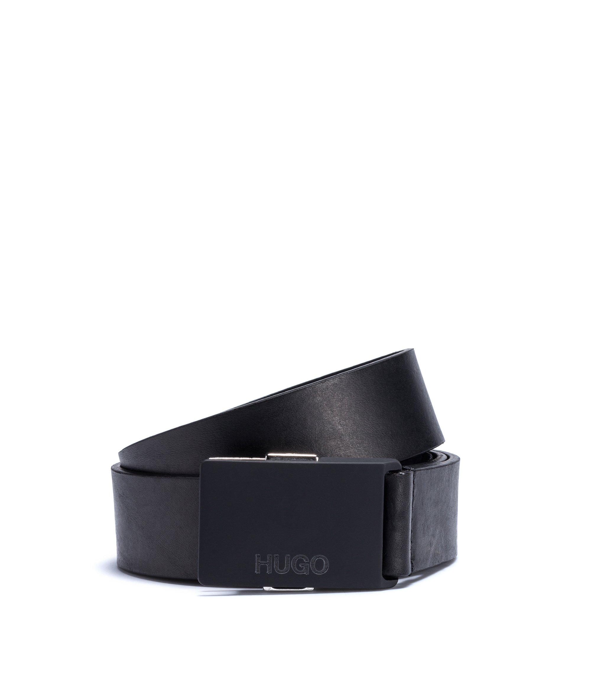 Leather belt with rubber plaque buckle, Black