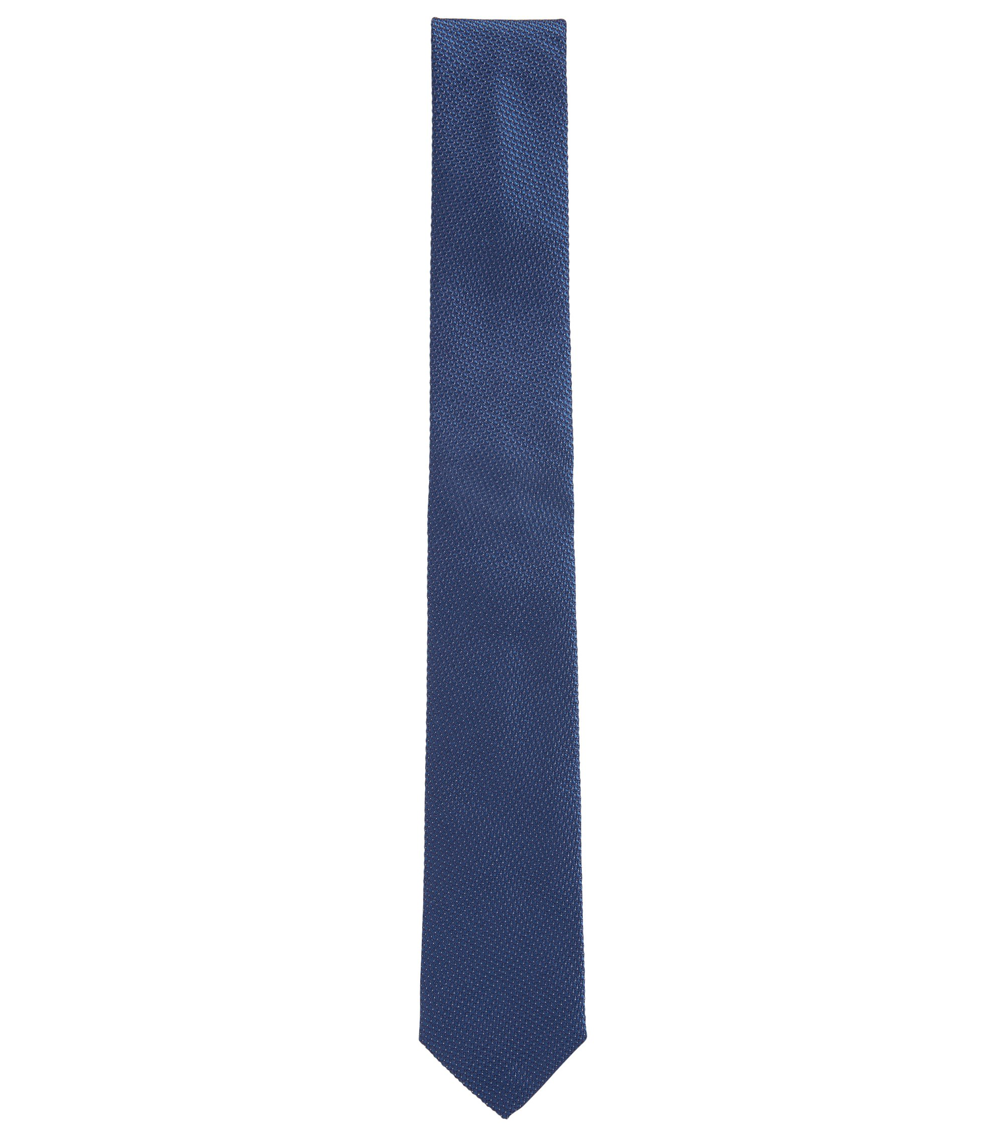 Pin dot tie in silk jacquard, Blue