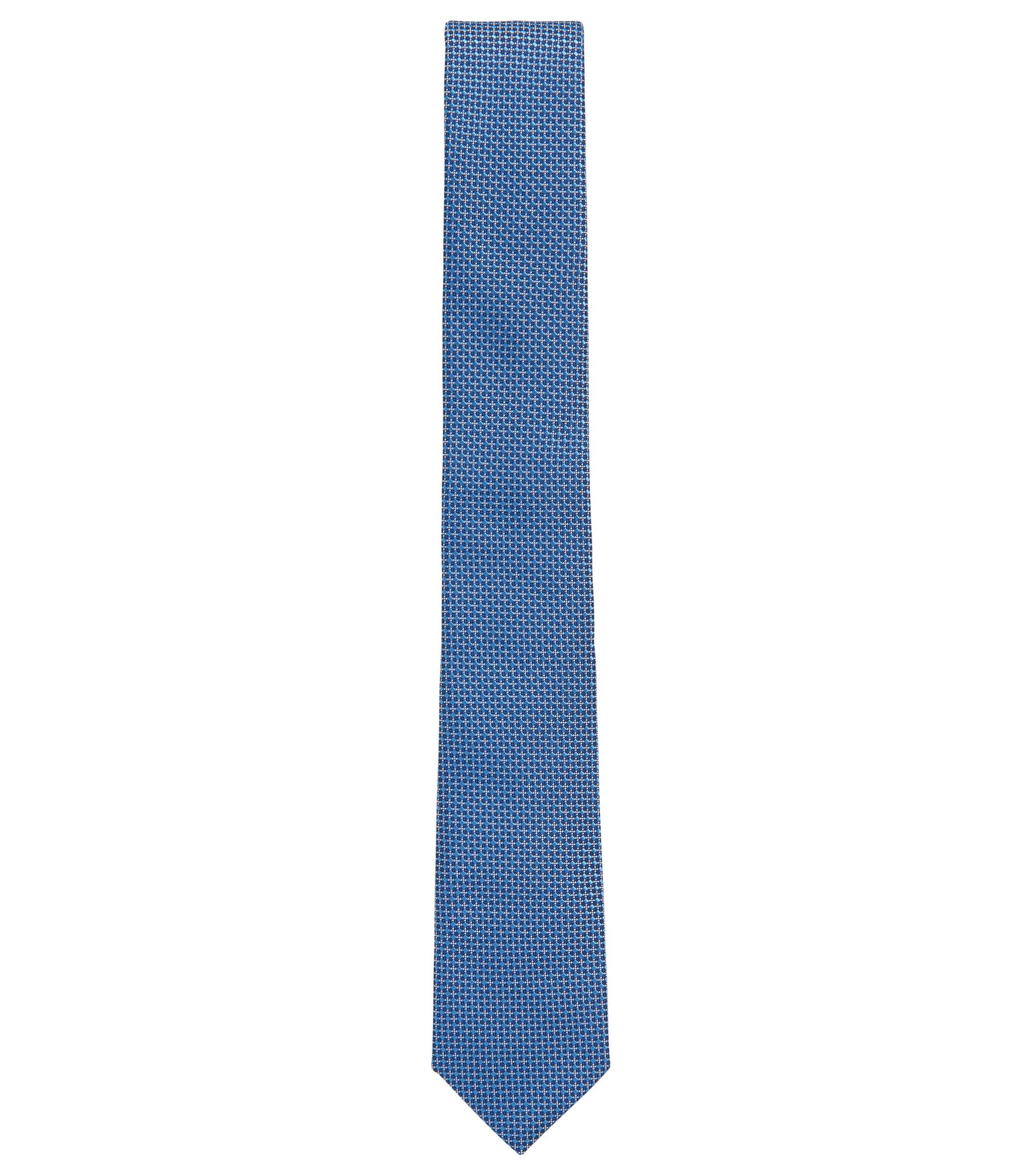 Handmade Italian-silk tie in a patterned jacquard, Blue