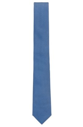 Corbata de jacquard hecha a mano en Italia en seda de fantasía, Azul oscuro