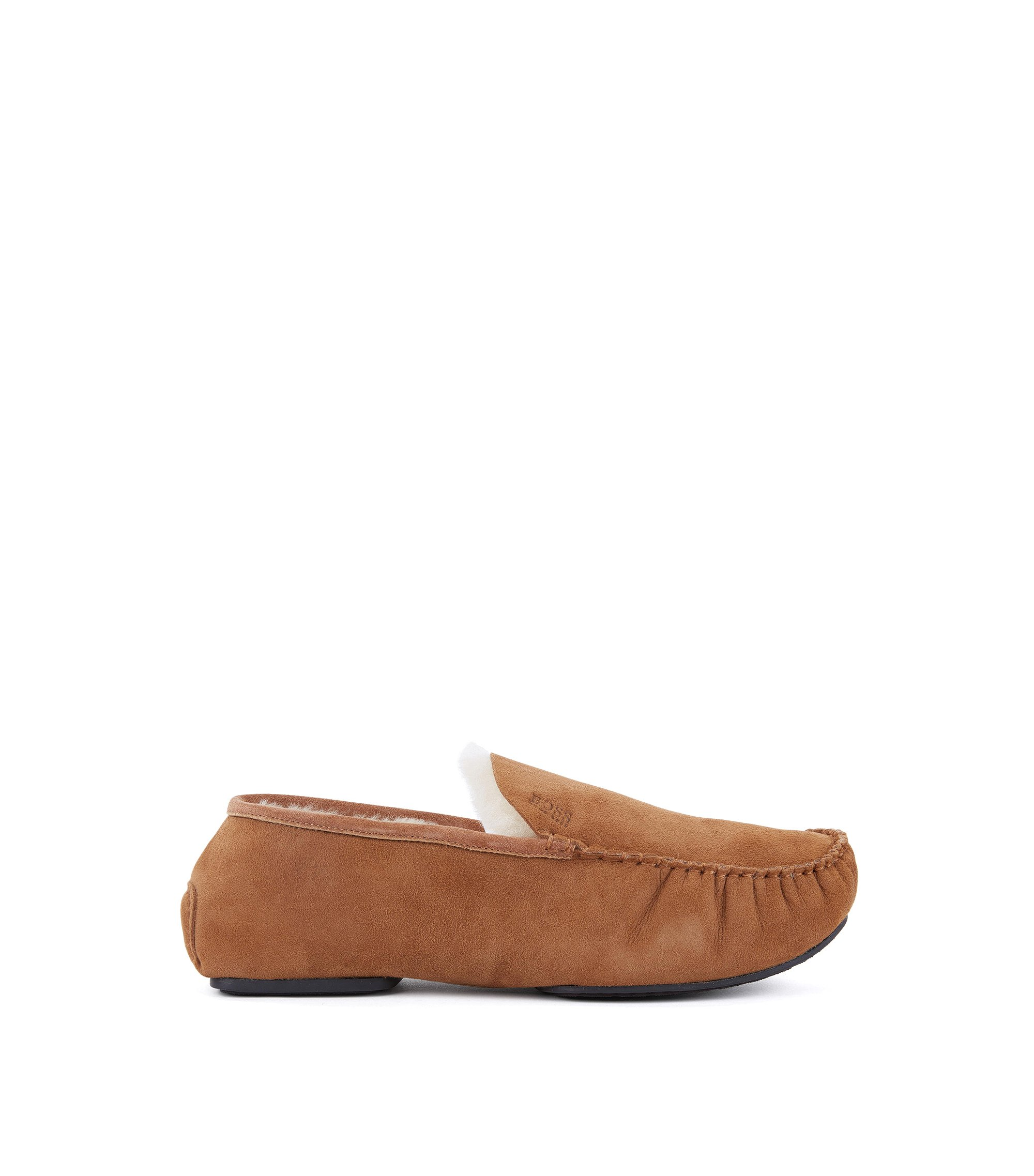 Suede moccasins with shearling lining, Brown