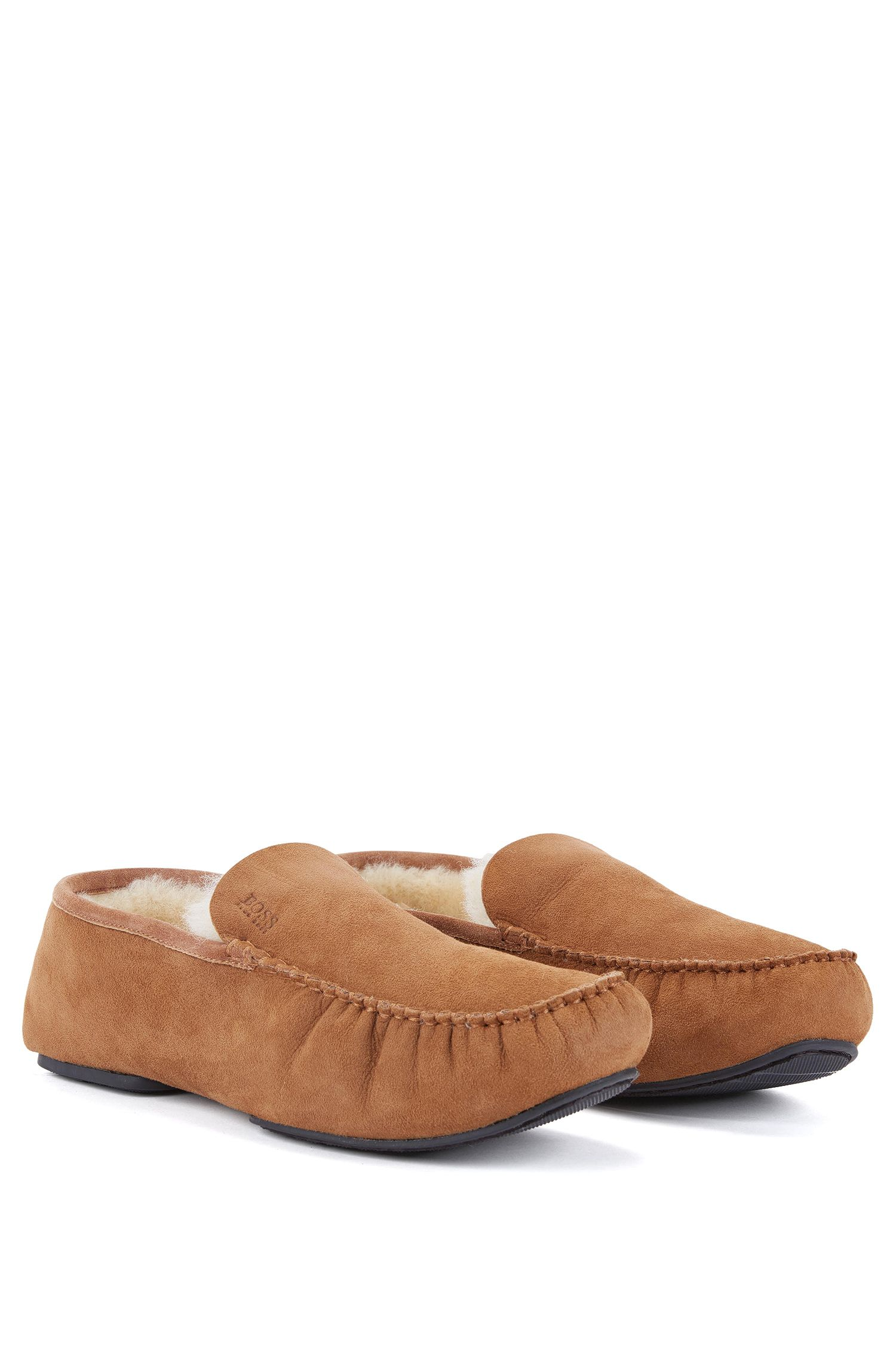 Suede moccasins with shearling lining