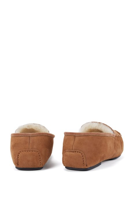 Suede moccasins with shearling lining BOSS MGhGnbxC