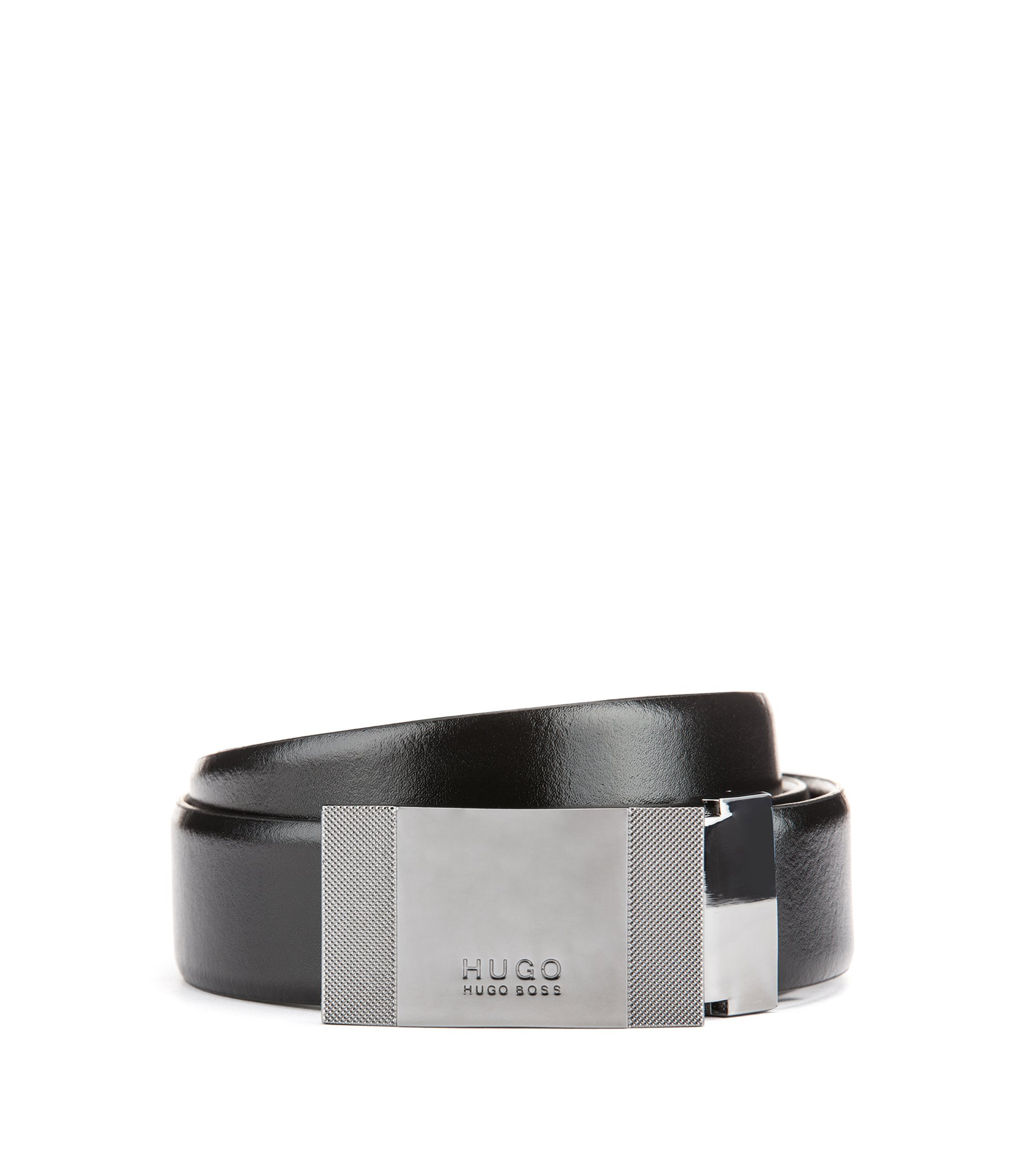 Reversible belt in smooth leather, Black