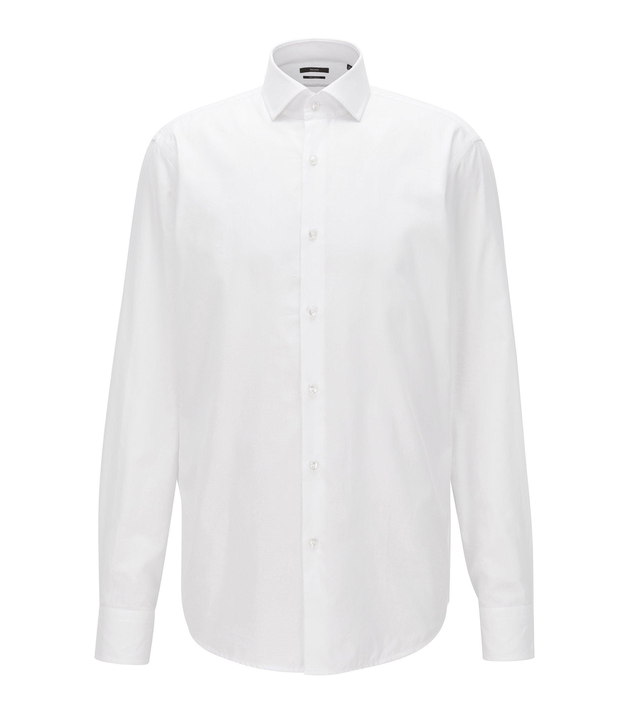 Camicia regular fit in twill di cotone con micro-lavorazione, Bianco